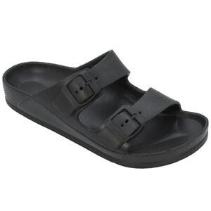 Women's Double Buckle Sandals Adjustable Slide EVA Rubber Strap Waterproof