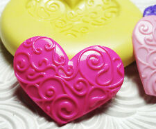 Silicone Resin Polymer Clay Fondant Flexible Push Mold SWIRL HEART 6024