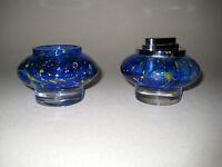 WMF Glas Feuerzeug und Vase blau 60er Jahre   60is Glas Design
