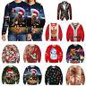 Christmas 3D Ugly Sweater Pullover Women Men Jumper Party Sweatshirt Blouse