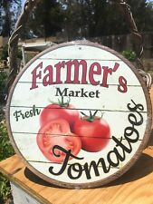 Farmers Market Fresh Tomatoes Round Sign Tin Vintage Garage Bar Decor Old Rustic