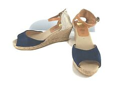 Kanna Blue Suede Tan Textile Womens Shoes  Sz 8 Peep Toe Espadrilles Casual