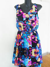 Ladies Mossimo NWOT Hi-Low Sheer Gathered Waist Dress Size M water colour splash