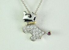 Roberto Coin 18K White Yellow Gold Pave Diamond Ruby Dog Pendant Chain Necklace