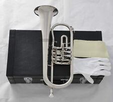 High Grade Rotary Valves Flugelhorn Bb Silver Nickel Flugel Horn With Case