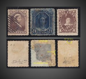 1887 1865 1896  NEWFOUNDLAND MINT WITH GUM THIN  + USED ISSUES  SCT 51,31,43