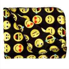 "Smiley Face Emoji Black Fleece Throw Blanket Super Soft 50""x60"" Northcrest NWT"