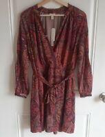 NWT Tiny Anthropologie Womens Pink Purple Paisley Odetta Mini Dress Size XS READ