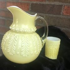 Northwood Late 19th Cent. Pale Yellow Cased Glass Pitcher and Tumbler - NO. 263
