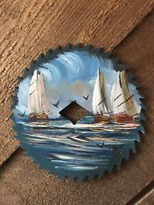 Hand-painted Saw Blade Sailboat Decor