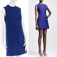 VALENTINO cobalt blue wool scalloped seams handstitched seam sheath dress M