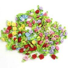100Pcs/Lot Small DIY Satin Ribbon Roses Flower Appliques Scrapbooking Sewing