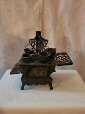 Vintage Crescent Cast Iron Stove Miniature Salesman Sample w/ Pots Pans