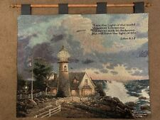 Thomas Kinkade Lighthouse John 8:12 Scripture Tapestry With Wooden Rod Included