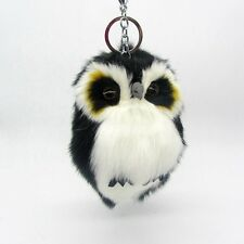 1Pc Cute Soft Faux Rabbit Fur Plush Bunny Fluffy Owl Keychain Car Pompom