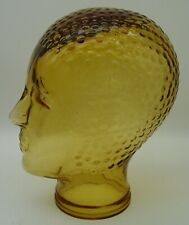vintage 70s amber glass Mannequin head for headphone wig hat or cap