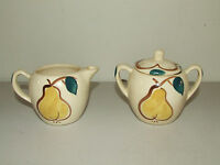 VINTAGE 1950s PURINTON POTTERY HAND PAINTED APPLE FRUIT SUGAR BOWL & CREAMER SET