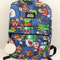 "New Nintendo Super Mario Bros. Backpack Book Bag All Over Print 16"" Yoshi Luigi"