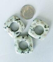 """Kiwi Jasper open square beads  Holed   """"SET OF3""""  Large 28-30mm square beads"""