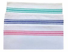 COTTON RICH WHITE WITH COLOURED STRIPE TEA TOWEL GLASS CLOTH, PACK OF 3 TOWELS