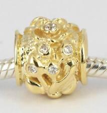 SOLID 9CT 375 9K YELLOW GOLD Elegant Cz Flower Plant BEAD For Charm Bracelet AU