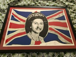 JAMIE REID SIGNED FRAMED GOD SAVE THE QUEEN WITH SAFETY PIN LTD EDITION PRINT