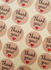 100 THANK YOU STICKERS-KRAFT PAPER-CIRCLE/ROUND LABELS-HEART/-3.5CM GIFT/FAVOURS