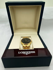Longines Présence Automatic Yellow Gold PVD Steel Black Dial Date Watch Y117