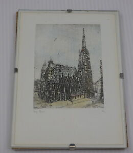VINTAGE ETCHING OF ST. STEPHENS CATHEDRAL, VIENNA AUSTRIA, ARTIST SIGNED