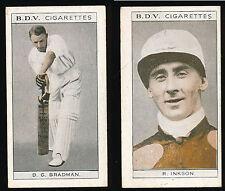 1933 Don Bradman BDV Cigarette card R Inkson back Cricket Horse Racing