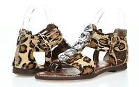 Womens SAM EDELMAN leopard print leather / cow fur w/ stones sandals sz. 7-10 M