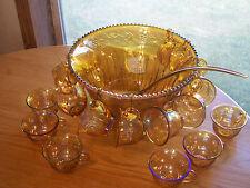 Vintage Indiana Carnival Glass Harvest Marigold Punch Bowl 16 Cups Ladle Hooks