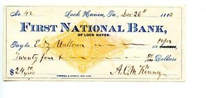 1883.  Lock Haven, PA.   First National Bank. Check   Revenue RN-G1