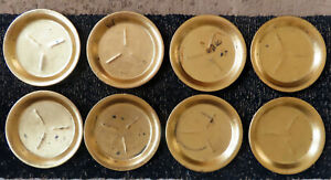 VINTAGE ISCO SET OF 8 COASTERS HAND PAINTED GOLD COLOR