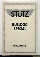 1916 Stutz Bulldog Special Sales Brochure & Specifications
