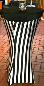 Cocktail Bar Cover 80 cm - White & Black Stripped  Lycra/Spandex