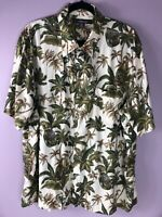 Croft and Barrow Mens Hawaiian Aloha Shirt  Beer Bottles Leaves Tropical XL