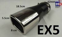 STEEL SQUARE EXHAUST TRIM TIP MUFFLER CHROME TAIL BIG BORE 60MM UNIVERSAL EX5