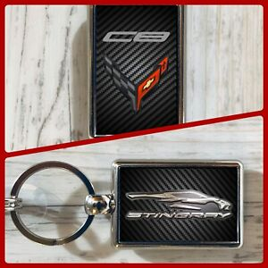 Chevy Chevrolet Corvette C8 Stingray Double Sided Keychain GM General Motors