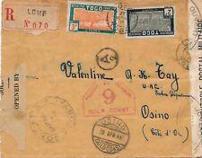 Lettre Recommandé Lome Togo via Osino Gold Coast Contrôle Postal Cover War