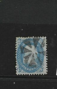 "US Scott #92 used 1c blue Franklin 1868 bank note, ""F"" grill, nice cancel f/vf"