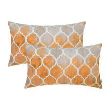 "2Pcs Grey Orange Cushion Cover Bolster Pillow Shell Chain Sofa Home Decor 12x20"""