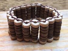 Fab Wood Bead Bracelet/Chunky Style/Brown/Statement/Retro/Stretchy/Hippy/Boho