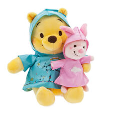 Disney Store 2018 Winnie the Pooh and Piglet Rainy Raincoat Day Plush Set 7""