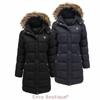 Ladies Fur Hooded Padded Quilted Puffer Long Parka Jacket Womens Coat 8-24