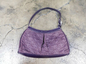 "Vera Bradley Lovely Plum Wine Nylon Hobo Bag Patent Trim Handle 7"" X 11"" VGUC"