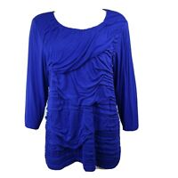 CHICOS Solid All Blue 3/4 Sleeve Tiered Top Size 3 Womens XL/16