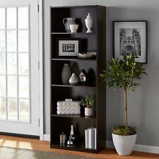 71 Tall 5-Shelf Bookcase Closed Back Adjustable Wood Bookshelf Storage Shelves