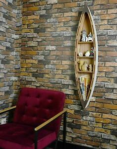 "Wood Boat Shelf Wall Nautical Decor Hanging Row Boat Shelf Display 47""H"
