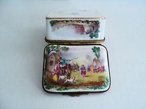 Rare 18th C. French Sevres Porcelain Enameled Trinket Box, Bronze Mounts